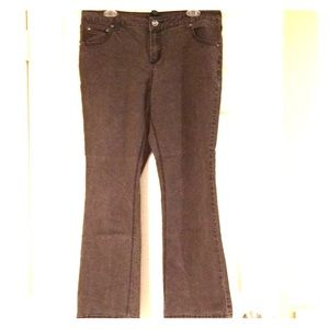 Brown embellished stretch jeans w/ slight flare!